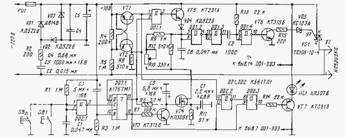 Принципиальная схема светорегулятора показана на рис. 1. Для управления симистором VS1.